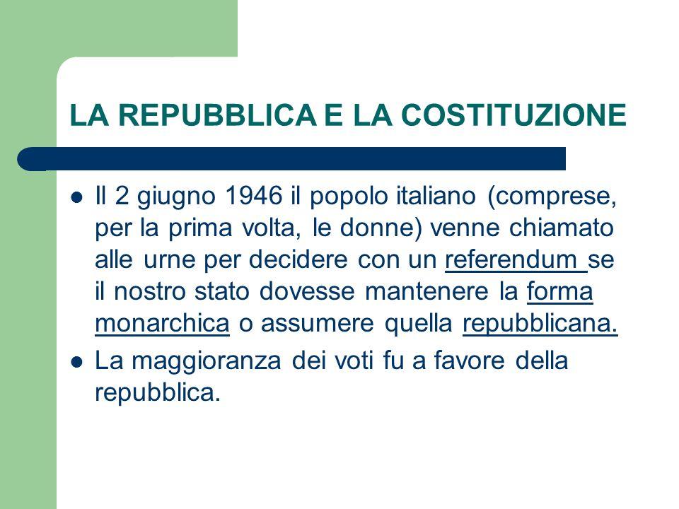 LA REPUBBLICA E LA COSTITUZIONE Il 2 giugno 1946 il popolo italiano (comprese, per la prima volta, le donne) venne chiamato alle urne per decidere con