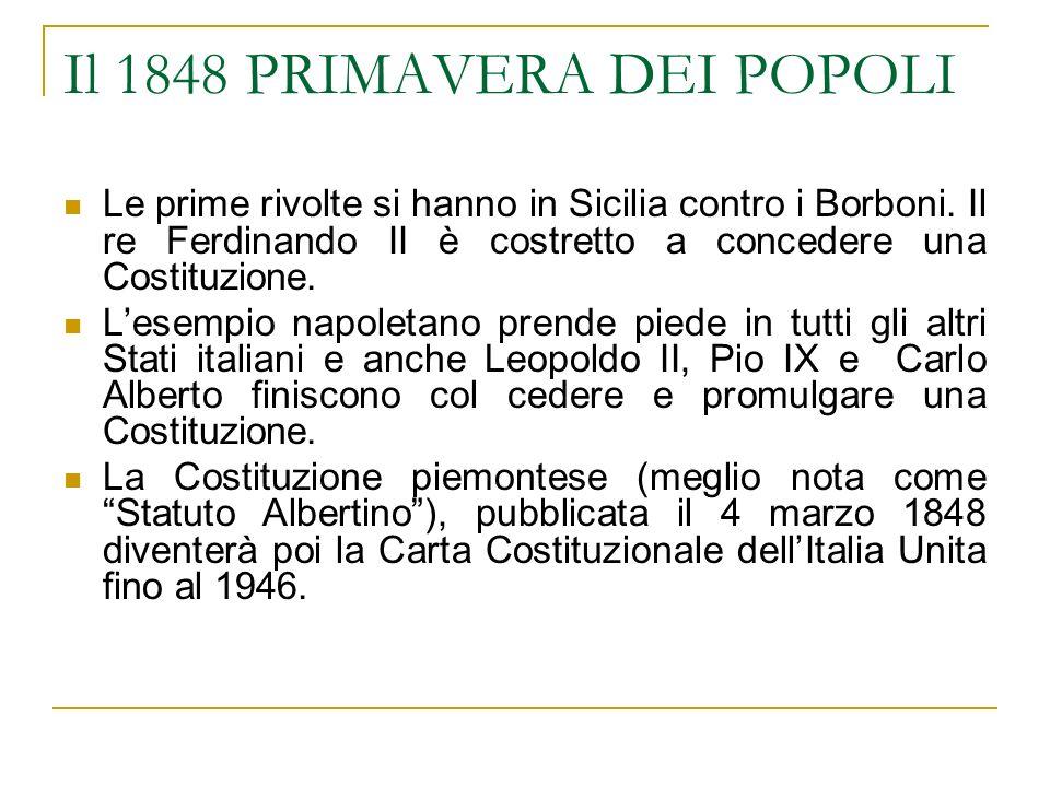 Il 1848 PRIMAVERA DEI POPOLI Le prime rivolte si hanno in Sicilia contro i Borboni. Il re Ferdinando II è costretto a concedere una Costituzione. Lese