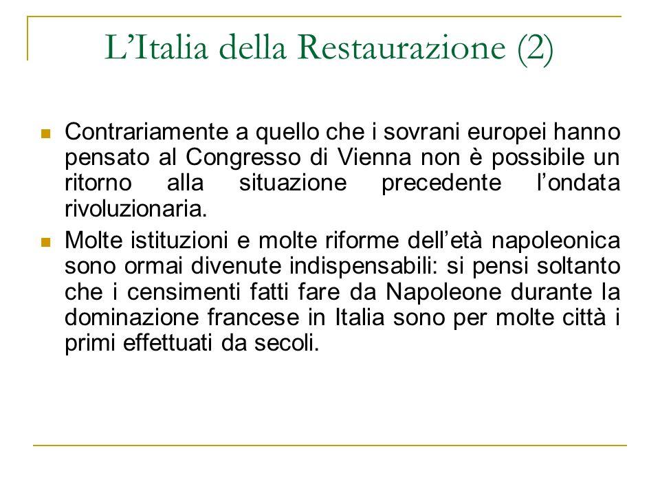 LItalia della Restaurazione (2) Contrariamente a quello che i sovrani europei hanno pensato al Congresso di Vienna non è possibile un ritorno alla sit
