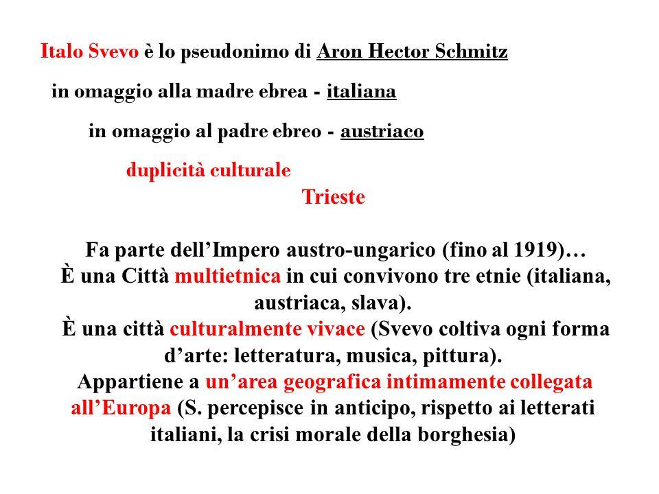 Italo Svevo è lo pseudonimo di Aron Hector Schmitz in omaggio alla madre ebrea - italiana in omaggio al padre ebreo - austriaco duplicità culturale Trieste Fa parte dellImpero austro-ungarico (fino al 1919)… È una Città multietnica in cui convivono tre etnie (italiana, austriaca, slava).