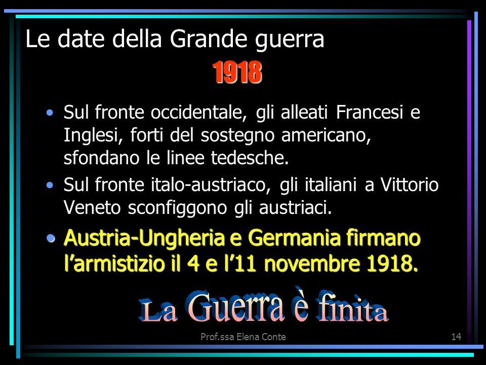 Prof.ssa Elena Conte13 Le date della Grande guerra Sul fronte occidentale, il 6 aprile 1917 segna lentrata in scena degli USA nella guerra. Sul fronte