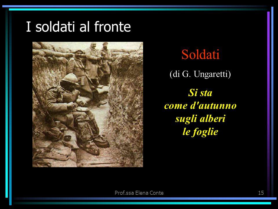 Prof.ssa Elena Conte14 Le date della Grande guerra Sul fronte occidentale, gli alleati Francesi e Inglesi, forti del sostegno americano, sfondano le l