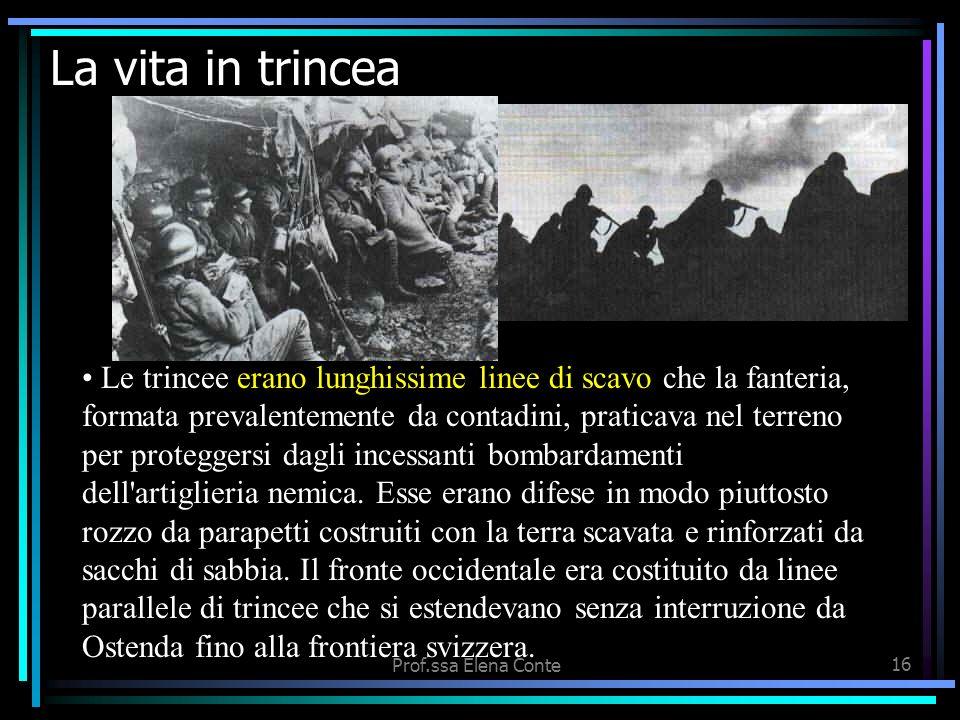 Prof.ssa Elena Conte15 I soldati al fronte Soldati (di G. Ungaretti) Si sta come d'autunno sugli alberi le foglie