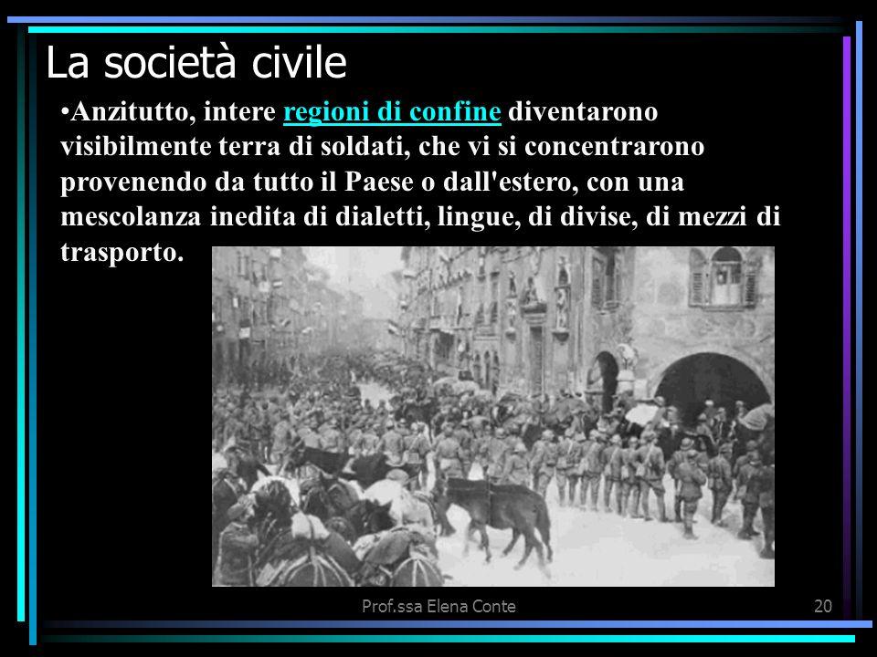 Prof.ssa Elena Conte19 La società civile Tutta leconomia degli Stati belligeranti era diretta al sostentamento dello sforzo bellico (industria per gli