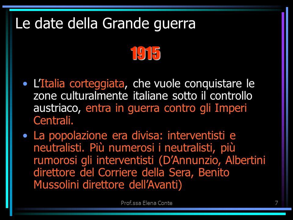 Prof.ssa Elena Conte6 Le date della Grande guerra I francesi contrattaccarono e respinsero i tedeschi dopo durissime battaglie sul fiume Marna dal 6 a