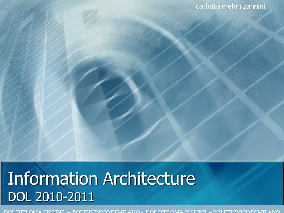 Information Architecture DOL 2010-2011 carlotta melon zannini DOL DIPLOMA ON LINE – POLITECNICO DI MILANO - DOL DIPLOMA ON LINE – POLITECNICO DI MILANO