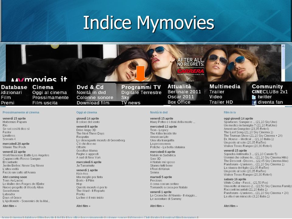 Indice Mymovies Lindice, sotto la copertina, comprende sette voci principali (in grassetto) ciascuna delle quali è seguita da una serie di sottosezioni.