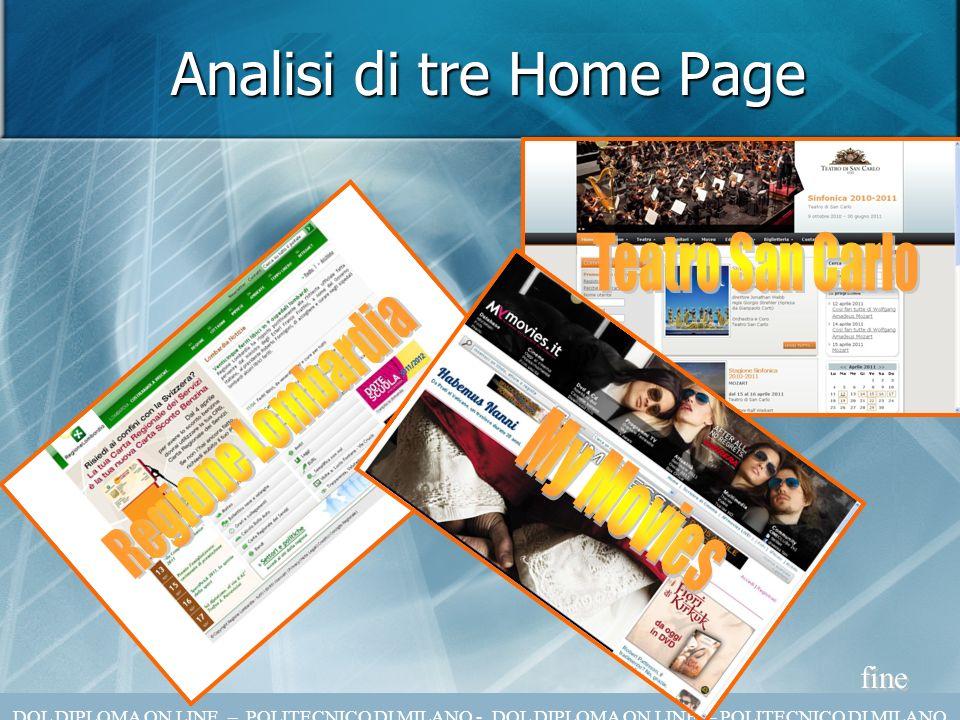 Analisi di tre Home Page fine DOL DIPLOMA ON LINE – POLITECNICO DI MILANO - DOL DIPLOMA ON LINE – POLITECNICO DI MILANO
