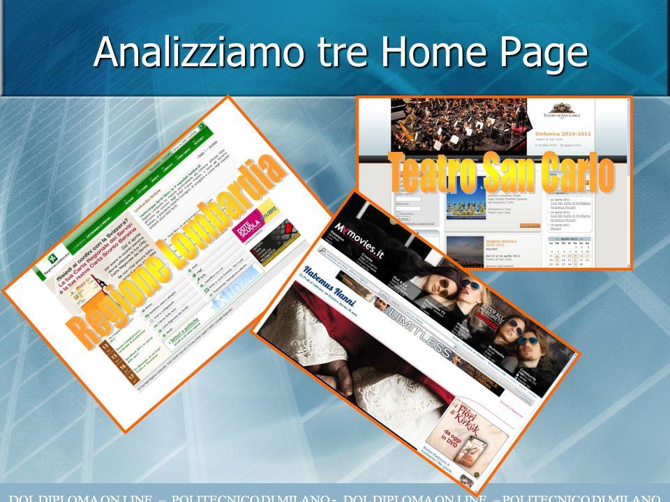 Analizziamo tre Home Page DOL DIPLOMA ON LINE – POLITECNICO DI MILANO - DOL DIPLOMA ON LINE – POLITECNICO DI MILANO