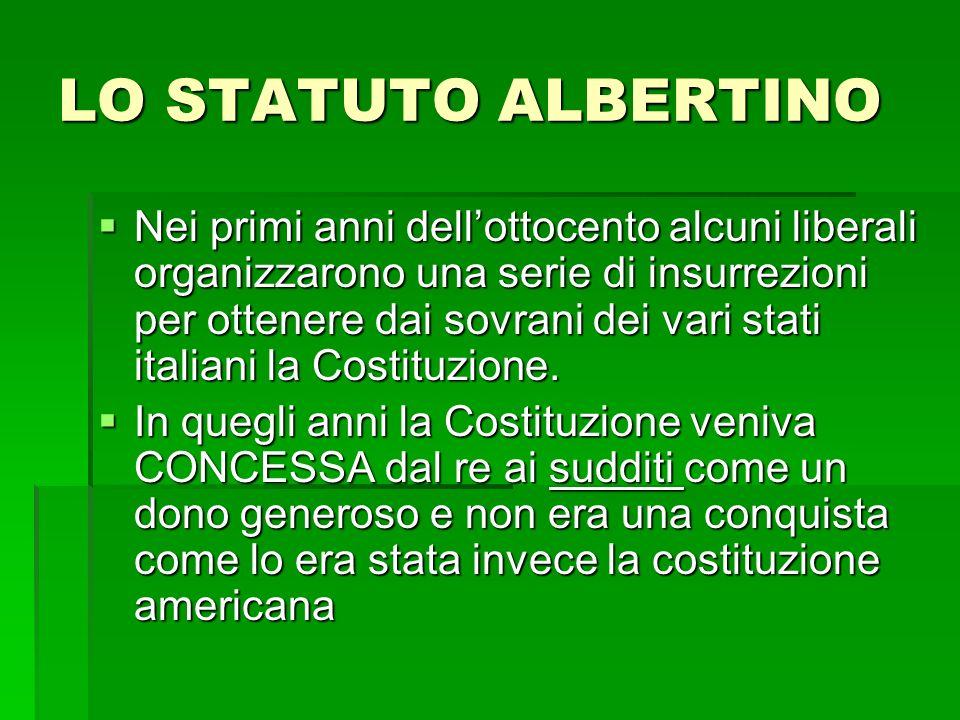 LO STATUTO ALBERTINO Nei primi anni dellottocento alcuni liberali organizzarono una serie di insurrezioni per ottenere dai sovrani dei vari stati ital