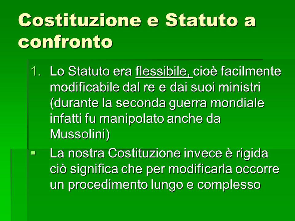 Costituzione e Statuto a confronto 1.Lo Statuto era flessibile, cioè facilmente modificabile dal re e dai suoi ministri (durante la seconda guerra mon