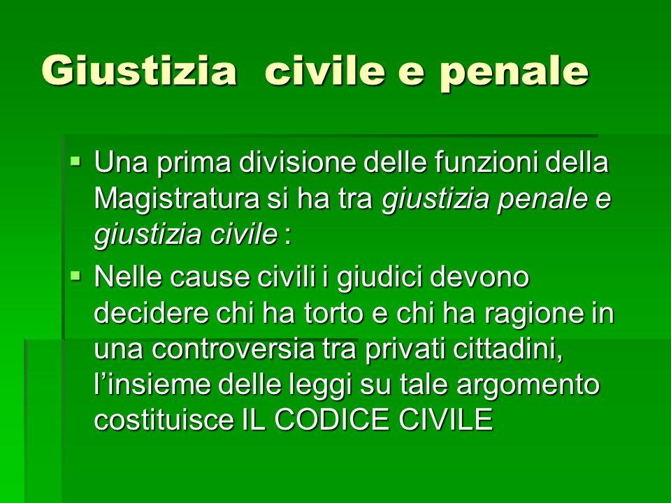 Giustizia civile e penale Una prima divisione delle funzioni della Magistratura si ha tra giustizia penale e giustizia civile : Una prima divisione de