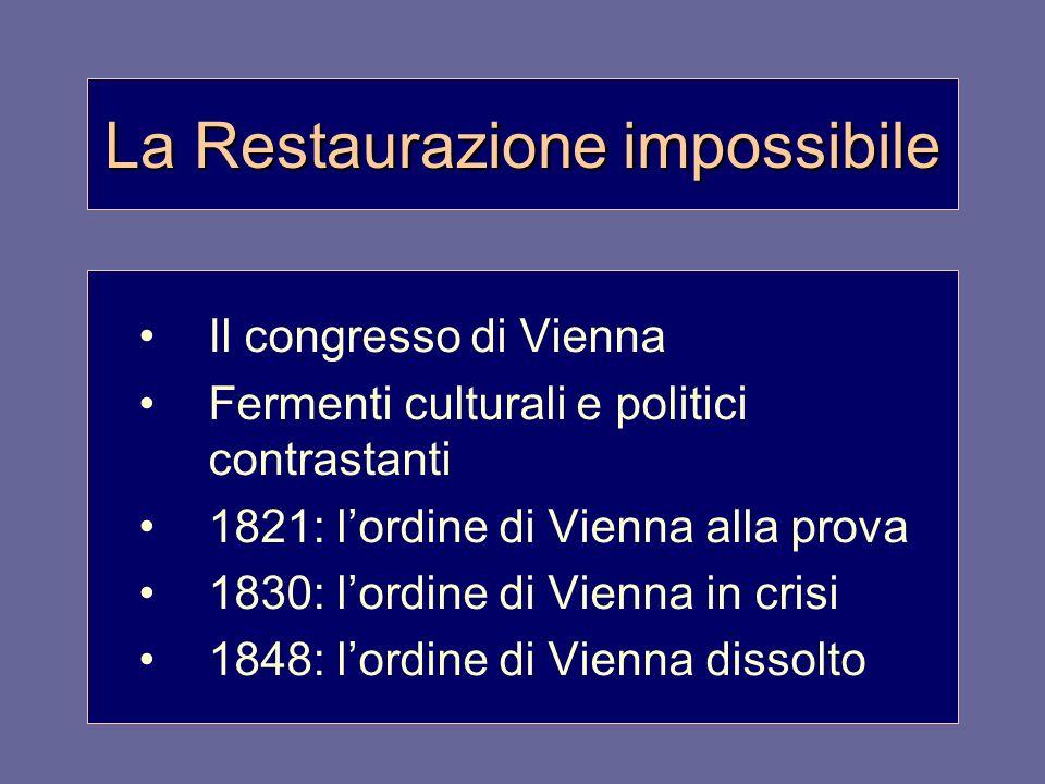 La Restaurazione impossibile Il congresso di Vienna Fermenti culturali e politici contrastanti 1821: lordine di Vienna alla prova 1830: lordine di Vie