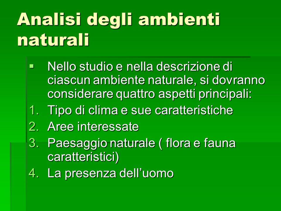 Analisi degli ambienti naturali Nello studio e nella descrizione di ciascun ambiente naturale, si dovranno considerare quattro aspetti principali: Nel