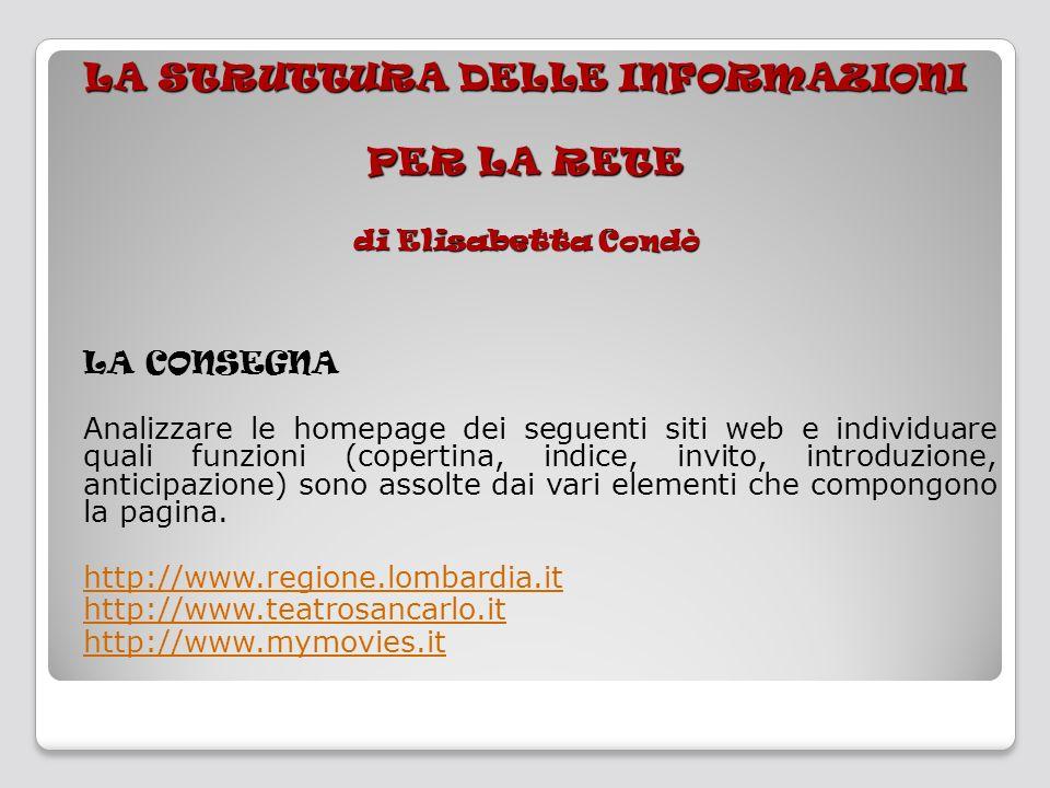 LA STRUTTURA DELLE INFORMAZIONI PER LA RETE di Elisabetta Condò LA CONSEGNA Analizzare le homepage dei seguenti siti web e individuare quali funzioni