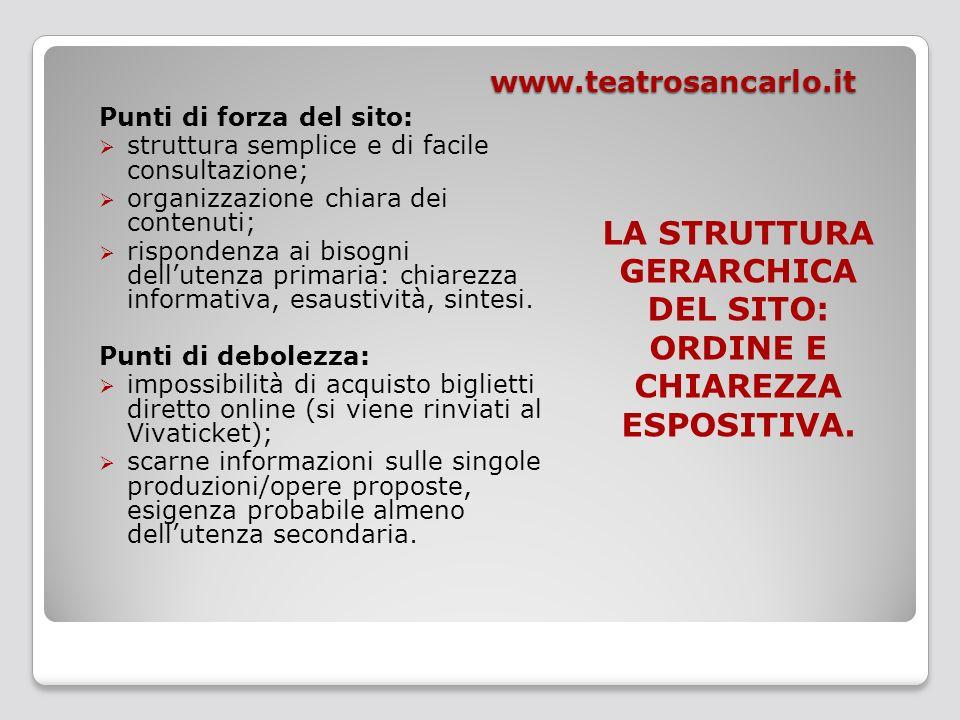 www.teatrosancarlo.it Punti di forza del sito: struttura semplice e di facile consultazione; organizzazione chiara dei contenuti; rispondenza ai bisog