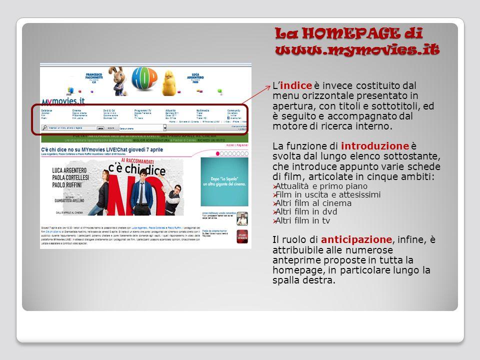 La HOMEPAGE di www.mymovies.it Lindice è invece costituito dal menu orizzontale presentato in apertura, con titoli e sottotitoli, ed è seguito e accom