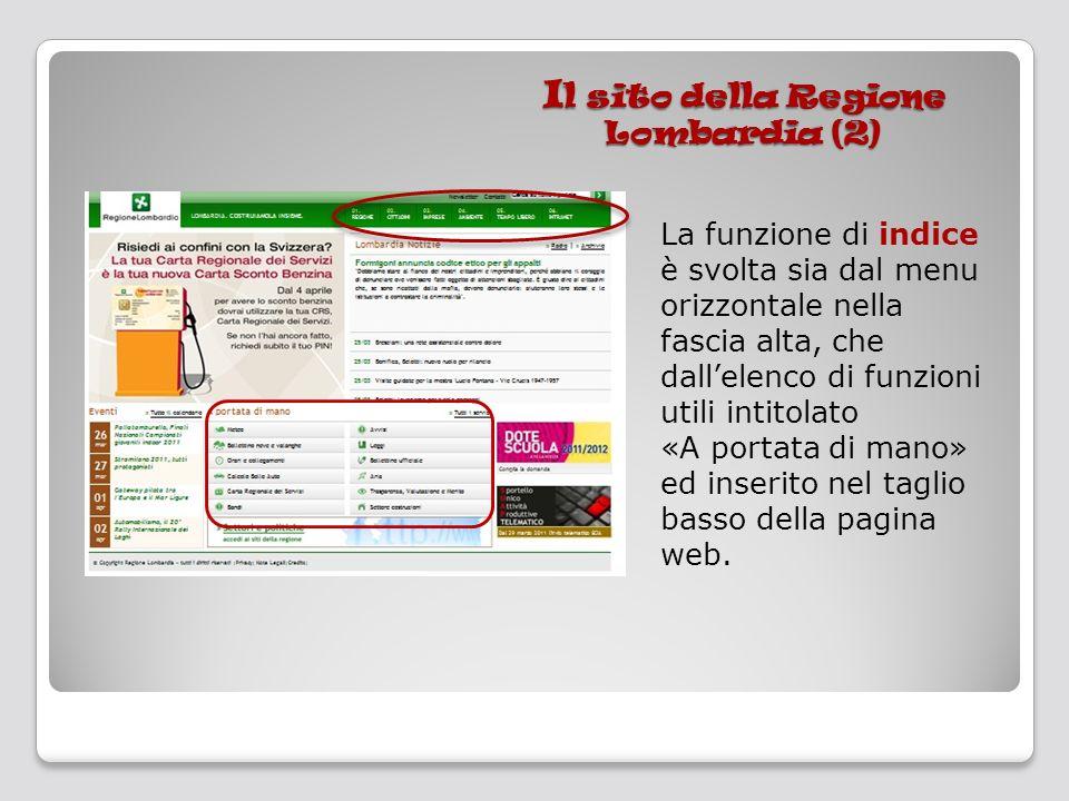 I l sito della Regione Lombardia (2) La funzione di indice è svolta sia dal menu orizzontale nella fascia alta, che dallelenco di funzioni utili intit