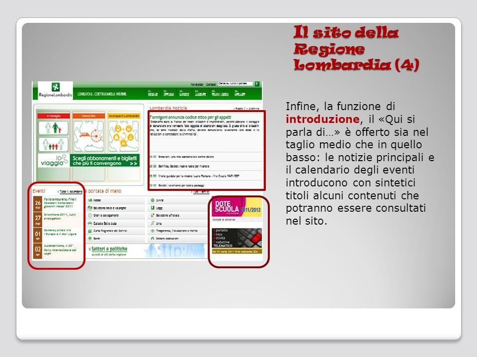 I l sito della Regione Lombardia (4) Infine, la funzione di introduzione, il «Qui si parla di…» è offerto sia nel taglio medio che in quello basso: le