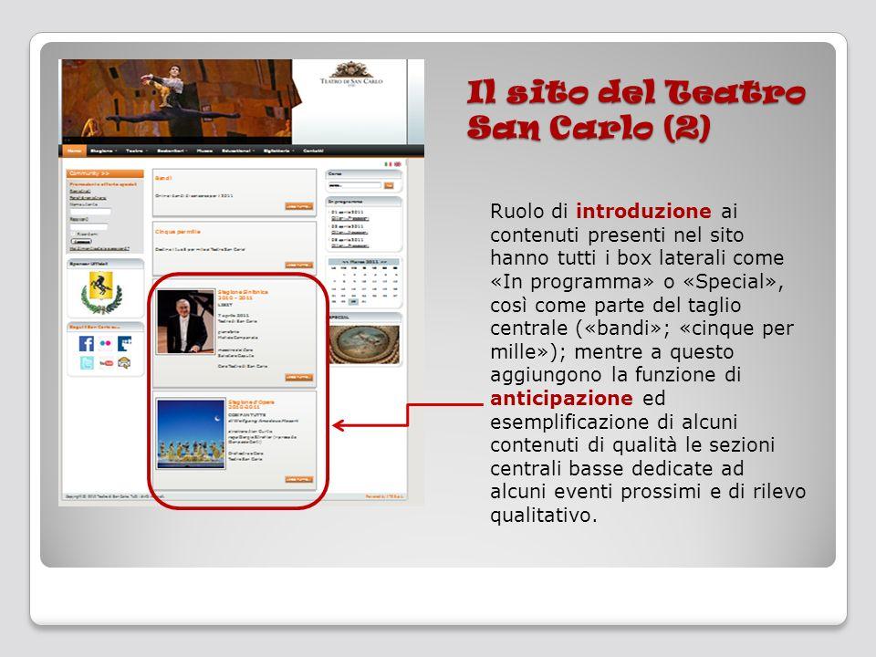 Il sito del Teatro San Carlo (2) Ruolo di introduzione ai contenuti presenti nel sito hanno tutti i box laterali come «In programma» o «Special», così
