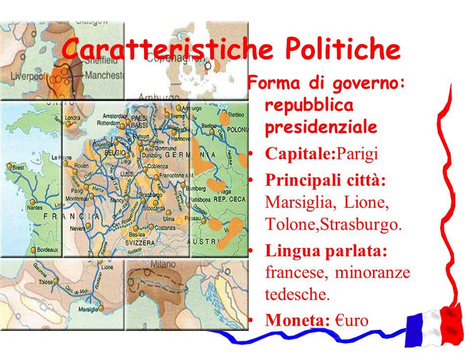 Caratteristiche Politiche Forma di governo: repubblica presidenziale Capitale:Parigi Principali città: Marsiglia, Lione, Tolone,Strasburgo. Lingua par