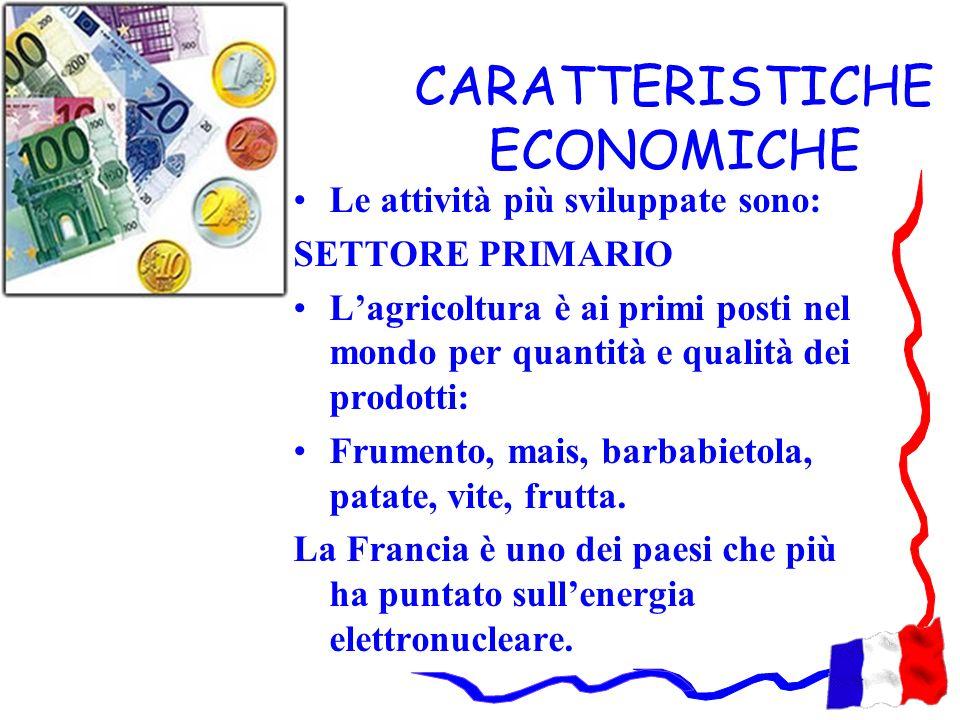 CARATTERISTICHE ECONOMICHE Le attività più sviluppate sono: SETTORE PRIMARIO Lagricoltura è ai primi posti nel mondo per quantità e qualità dei prodot