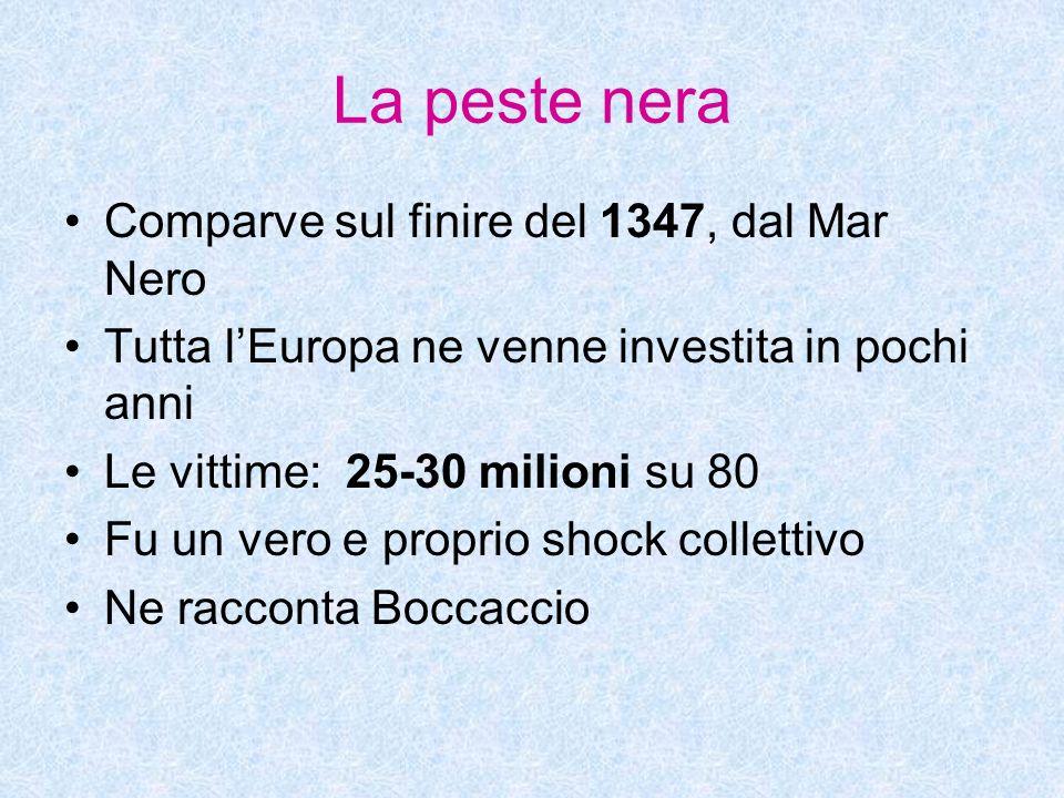 La peste nera Comparve sul finire del 1347, dal Mar Nero Tutta lEuropa ne venne investita in pochi anni Le vittime: 25-30 milioni su 80 Fu un vero e p