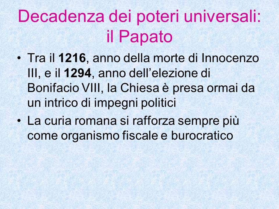 Decadenza dei poteri universali: il Papato Tra il 1216, anno della morte di Innocenzo III, e il 1294, anno dellelezione di Bonifacio VIII, la Chiesa è