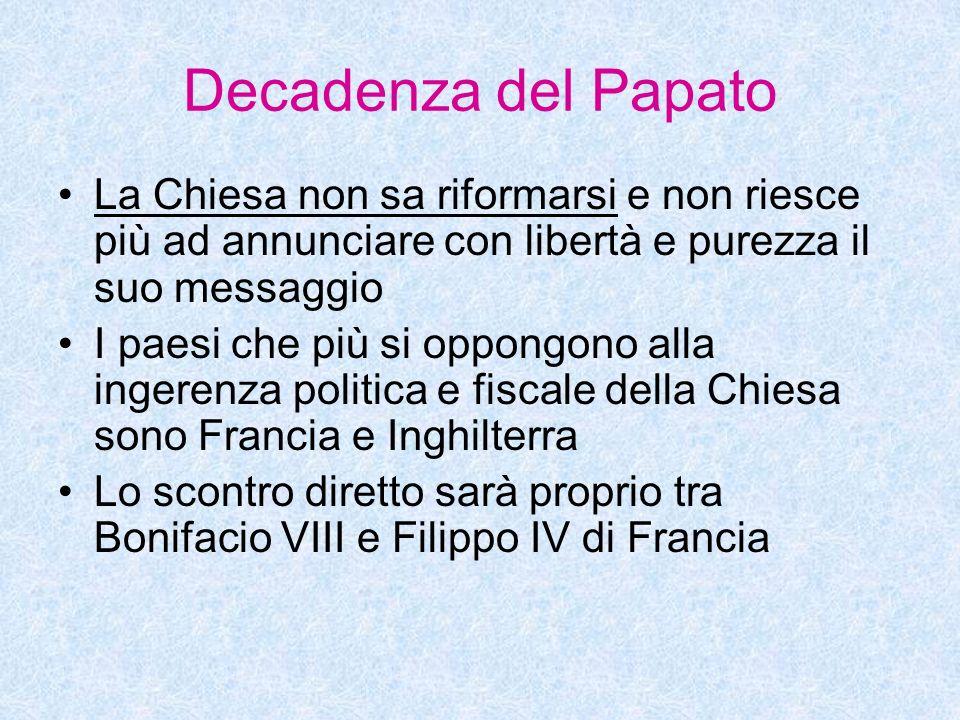 Decadenza del Papato La Chiesa non sa riformarsi e non riesce più ad annunciare con libertà e purezza il suo messaggio I paesi che più si oppongono al