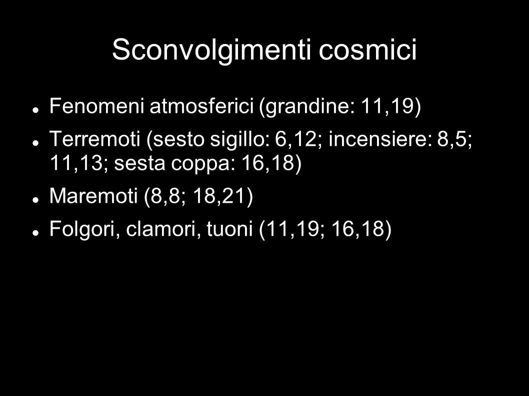 Sconvolgimenti cosmici Fenomeni atmosferici (grandine: 11,19) Terremoti (sesto sigillo: 6,12; incensiere: 8,5; 11,13; sesta coppa: 16,18) Maremoti (8,8; 18,21) Folgori, clamori, tuoni (11,19; 16,18)