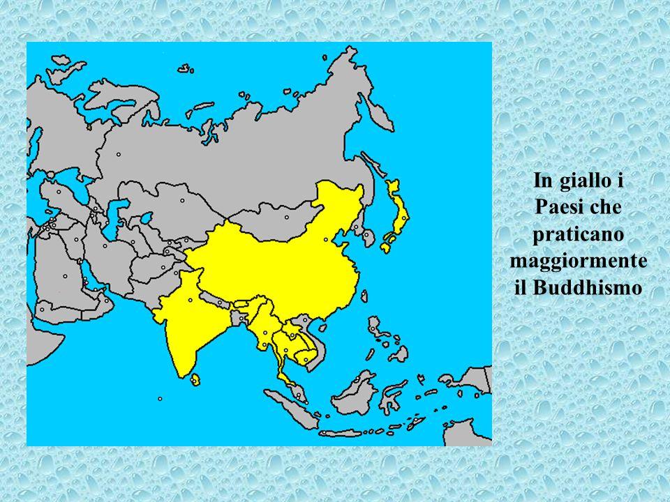 In giallo i Paesi che praticano maggiormente il Buddhismo