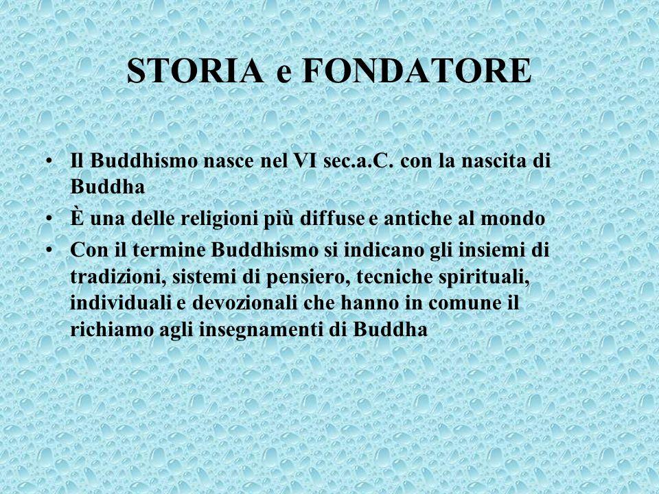 STORIA e FONDATORE Il Buddhismo nasce nel VI sec.a.C. con la nascita di Buddha È una delle religioni più diffuse e antiche al mondo Con il termine Bud
