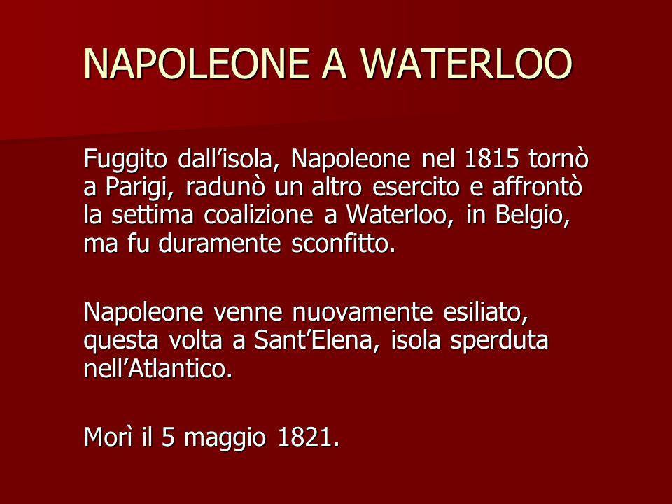 NAPOLEONE A WATERLOO NAPOLEONE A WATERLOO Fuggito dallisola, Napoleone nel 1815 tornò a Parigi, radunò un altro esercito e affrontò la settima coalizi