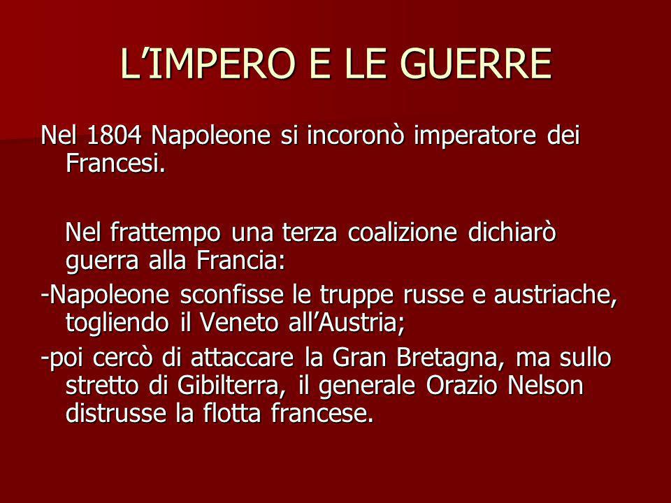LIMPERO E LE GUERRE Nel 1804 Napoleone si incoronò imperatore dei Francesi. Nel frattempo una terza coalizione dichiarò guerra alla Francia: Nel fratt