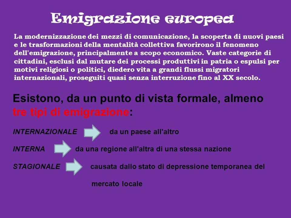 Emigrazione europea La modernizzazione dei mezzi di comunicazione, la scoperta di nuovi paesi e le trasformazioni della mentalità collettiva favoriron