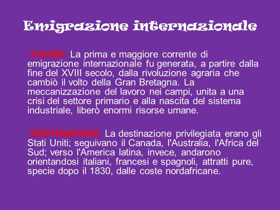 Emigrazione internazionale CAUSE: La prima e maggiore corrente di emigrazione internazionale fu generata, a partire dalla fine del XVIII secolo, dalla