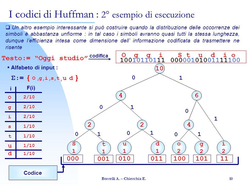 Borrelli A. – Chierchia E. 10 Un altro esempio interessante si può costruire quando la distribuzione delle occorrenze dei simboli è abbastanza unfiorm