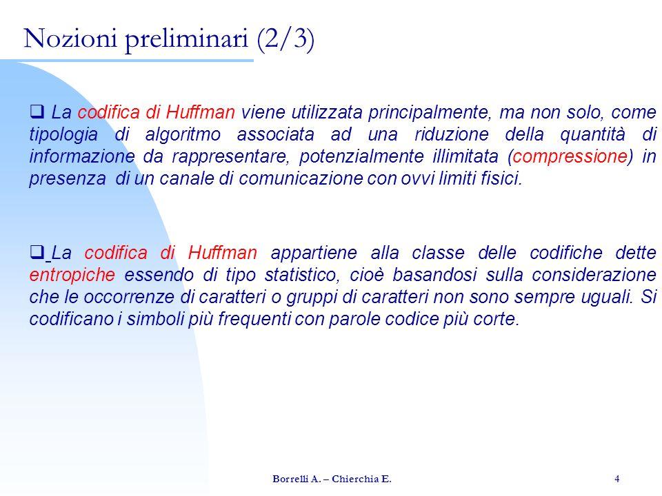 Borrelli A. – Chierchia E. 4 Nozioni preliminari (2/3) La codifica di Huffman viene utilizzata principalmente, ma non solo, come tipologia di algoritm