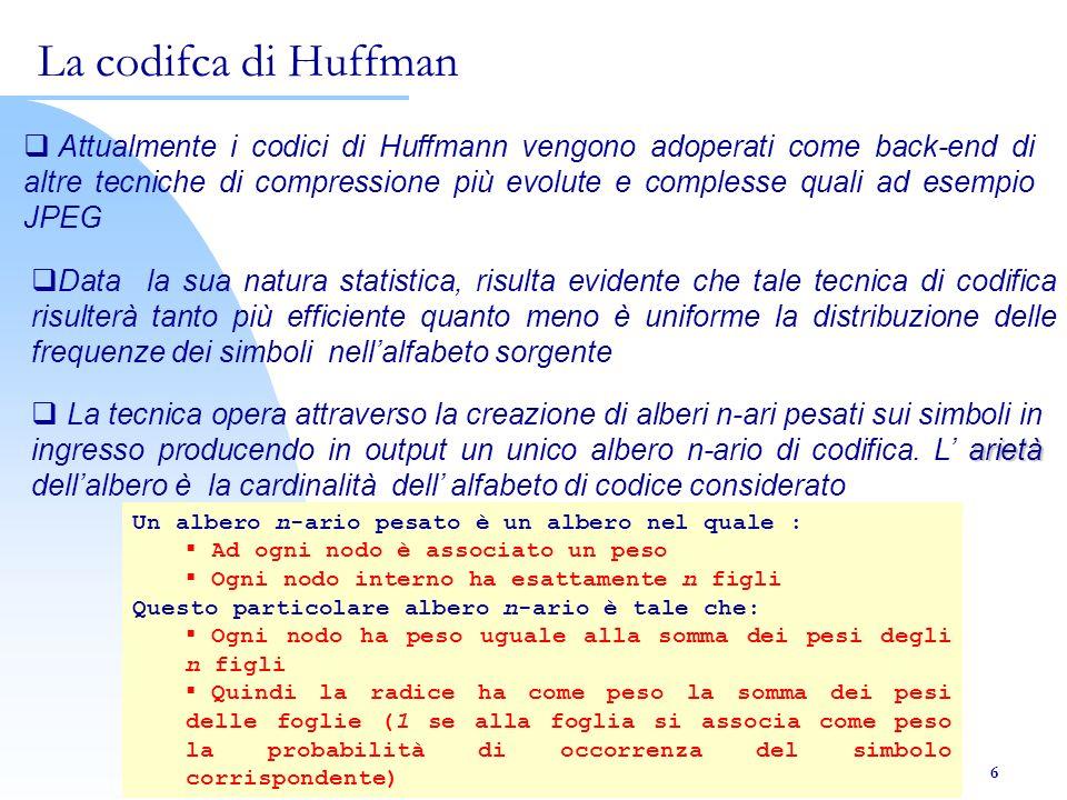 Borrelli A. – Chierchia E. 6 Attualmente i codici di Huffmann vengono adoperati come back-end di altre tecniche di compressione più evolute e compless