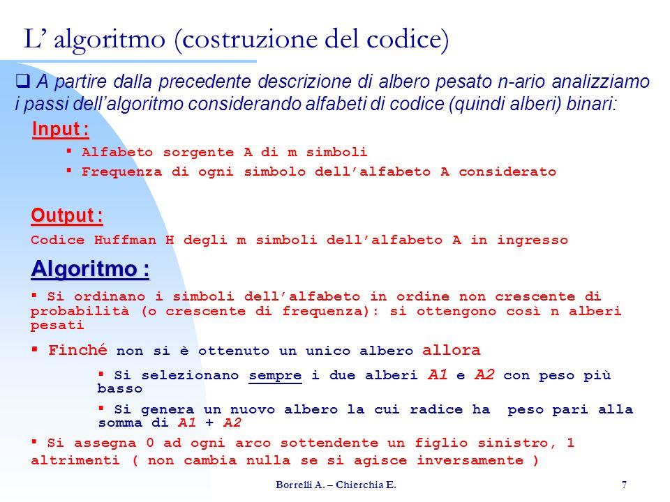 Borrelli A. – Chierchia E. 7 A partire dalla precedente descrizione di albero pesato n-ario analizziamo i passi dellalgoritmo considerando alfabeti di