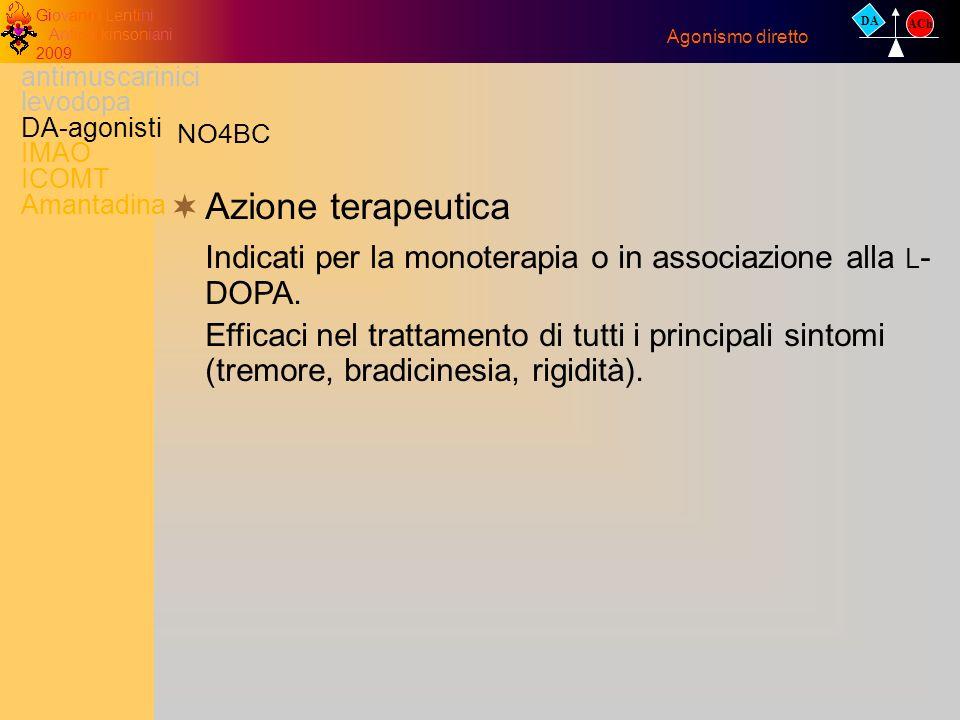 Giovanni Lentini Antiparkinsoniani 2009 Azione terapeutica Indicati per la monoterapia o in associazione alla L - DOPA. Efficaci nel trattamento di tu