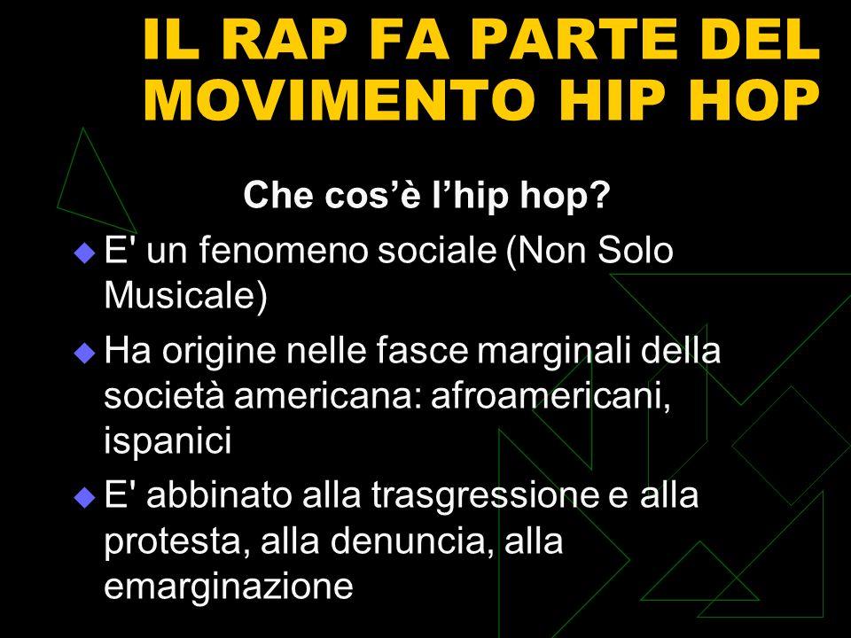 IL RAP FA PARTE DEL MOVIMENTO HIP HOP Che cosè lhip hop? E' un fenomeno sociale (Non Solo Musicale) Ha origine nelle fasce marginali della società ame