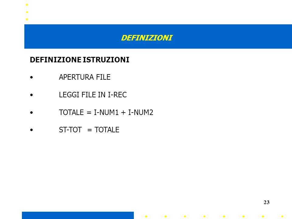 23 DEFINIZIONI DEFINIZIONE ISTRUZIONI APERTURA FILE LEGGI FILE IN I-REC TOTALE = I-NUM1 + I-NUM2 ST-TOT = TOTALE