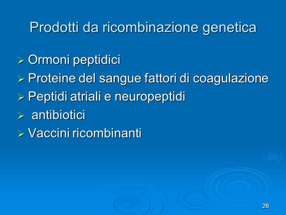 26 Prodotti da ricombinazione genetica Ormoni peptidici Ormoni peptidici Proteine del sangue fattori di coagulazione Proteine del sangue fattori di co