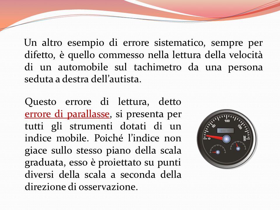Un altro esempio di errore sistematico, sempre per difetto, è quello commesso nella lettura della velocità di un automobile sul tachimetro da una pers
