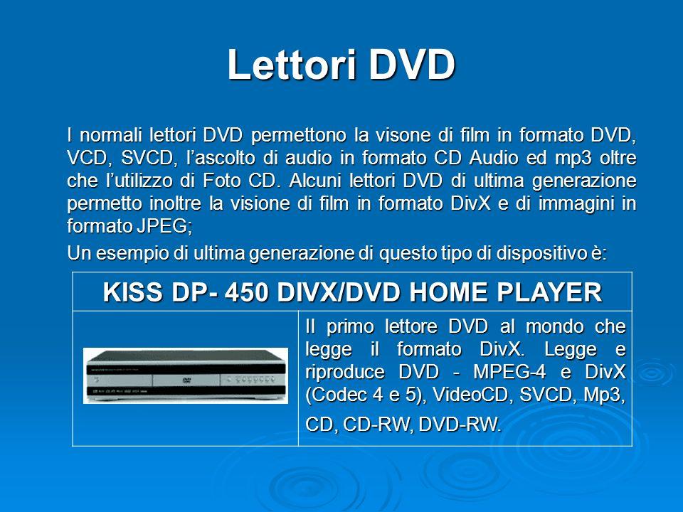 Lettori DVD I normali lettori DVD permettono la visone di film in formato DVD, VCD, SVCD, lascolto di audio in formato CD Audio ed mp3 oltre che lutilizzo di Foto CD.