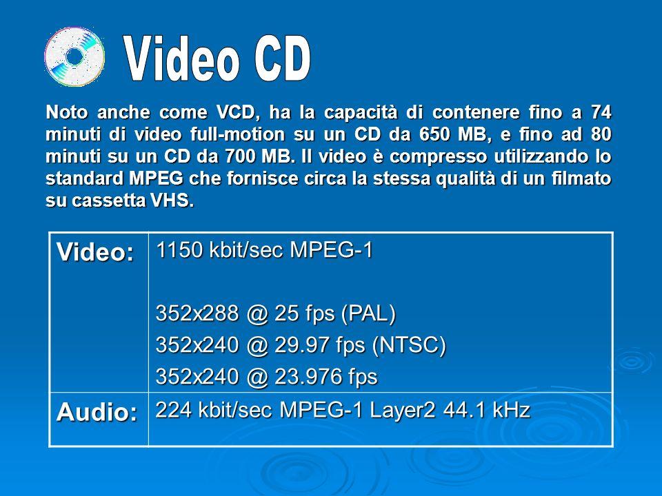 Noto anche come VCD, ha la capacità di contenere fino a 74 minuti di video full-motion su un CD da 650 MB, e fino ad 80 minuti su un CD da 700 MB.
