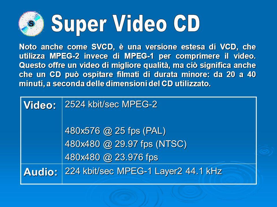 Digital Versatile Disk, conosciuti anche come Digital Video Disk, sono utilizzati diffusamente per la distribuzione commerciale di Film, possono contenere più di due ore di video digitale di qualità professionale (un disco a doppio strato e doppia facciata ne può contenere ovviamente otto).