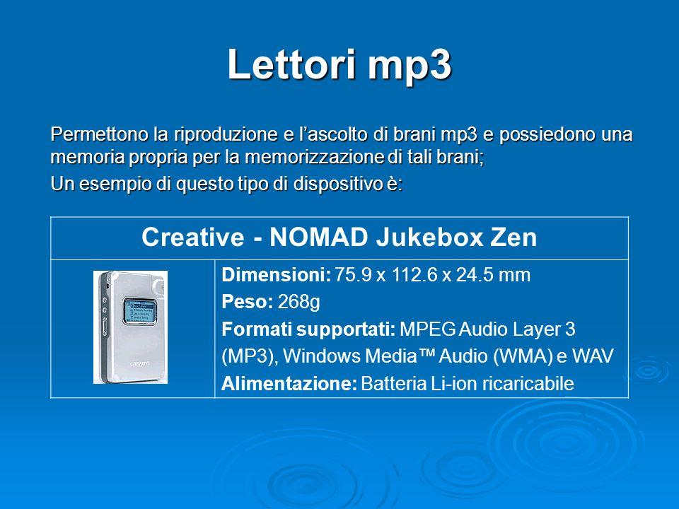 Lettori mp3 Permettono la riproduzione e lascolto di brani mp3 e possiedono una memoria propria per la memorizzazione di tali brani; Un esempio di questo tipo di dispositivo è: Creative - NOMAD Jukebox Zen Dimensioni: 75.9 x 112.6 x 24.5 mm Peso: 268g Formati supportati: MPEG Audio Layer 3 (MP3), Windows Media Audio (WMA) e WAV Alimentazione: Batteria Li-ion ricaricabile