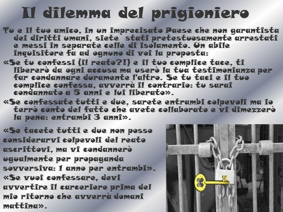 Il dilemma del prigioniero Tu e il tuo amico, in un imprecisato Paese che non garantista dei diritti umani, siete stati pretestuosamente arrestati e messi in separate celle di isolamento.